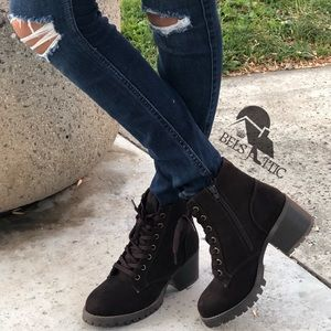 Brown Vegan Suede Combat Military Boots